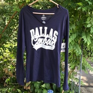 NWT NFL Dallas Cowboys V-Neck Long Sleeves Tee L